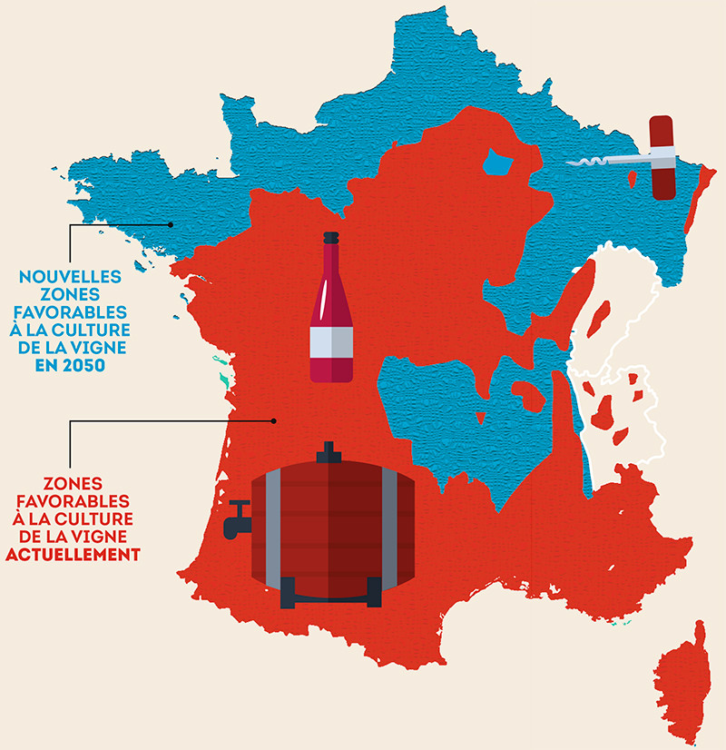 Zone de la culture de vigne en France