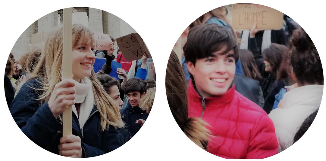 """Pauline et Hugo, lors de la manifestation du 15 mars """"Révolution économique""""."""