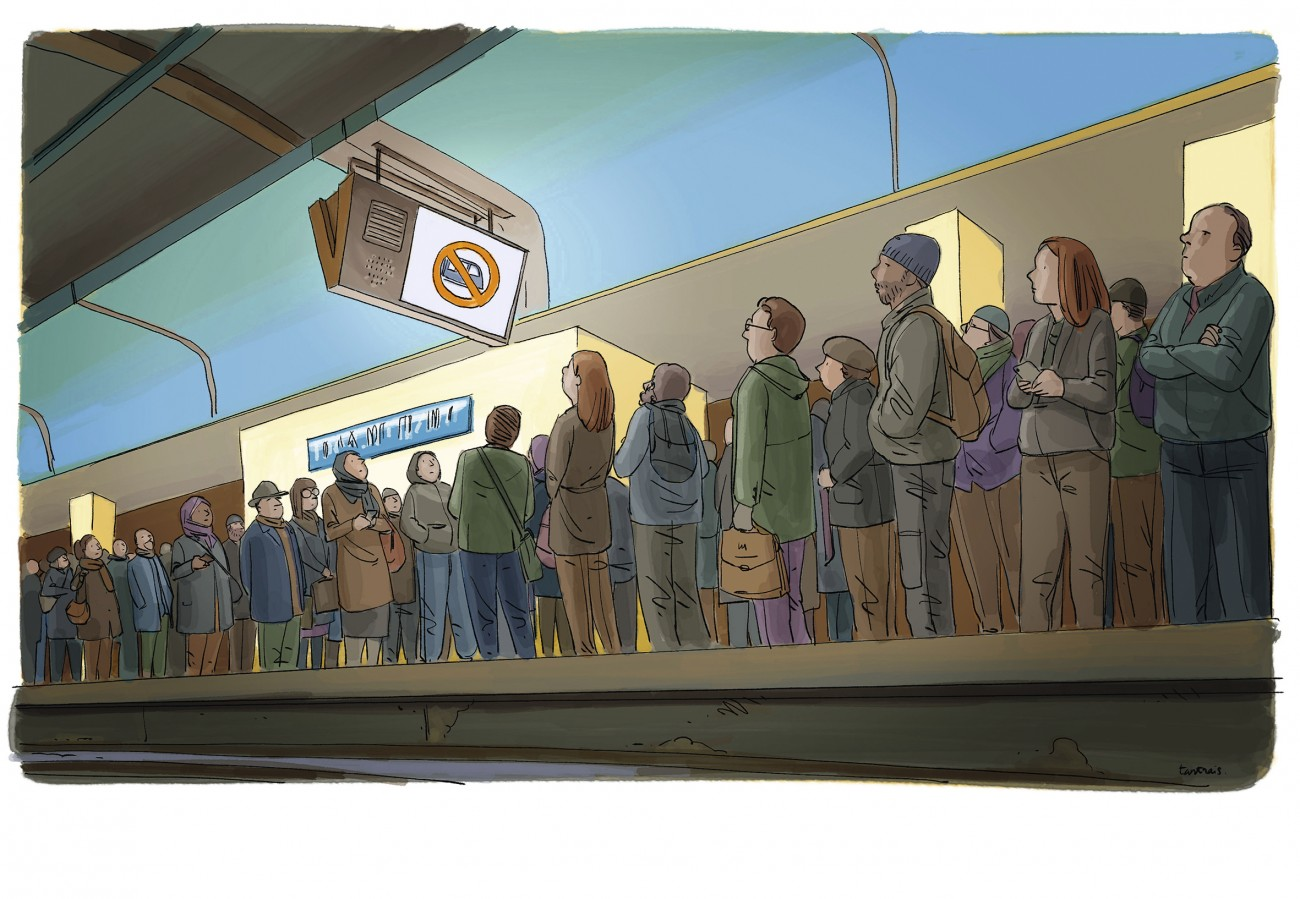 Illustration de GIlles Rapoport montratnt des usagers attendant sur le quai d'un métro.  Un écran affiche un train barré, signe d'une panne.